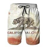 Men's Bathing Suits,California State Flag Boardshort Swim Trunk Beach Shorts Lightweight Men's Swim Trunk,L