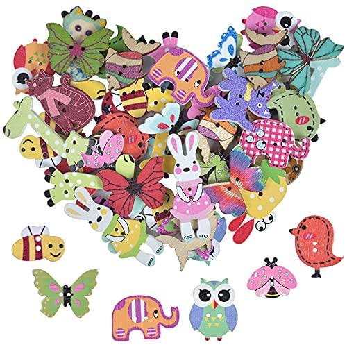 50 Piezas Botones de Animales de Madera, Variedad de Estilos de Animales Colores Pintados Botones de Costura de 2 Agujeros para Manualidades, Decoración, Accesorios de Ropa