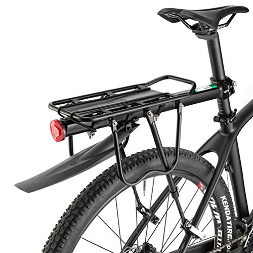 ROCKBROS Bicycle Rear Rack Carrier Adjustable Bike Luggage Cargo Rack with Reflector Quick Release Cycling Seatpost Rack Black, 50KG Capacity, 24'-29'