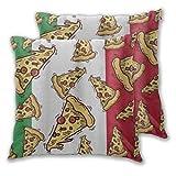 ALLMILL Juego de 2 Decorativo Funda de Cojín Pizza Slice Italia Bandera Comida Italiana Funda de Almohada Cuadrado para Sofá Cama Decoración para Hogar,60x60cm