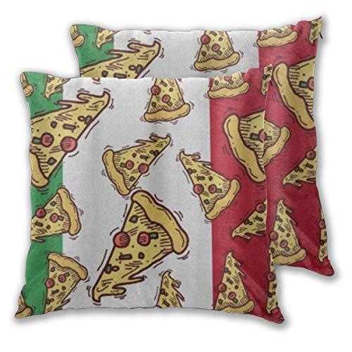 KASABULL 2 Pack Funda de Almohada Rebanada De Pizza con Bandera De Italia Comida Italiana Lino Suave Cuadrado Sofá Cama Decoración Hogar para Cojín 60cm x 60cm