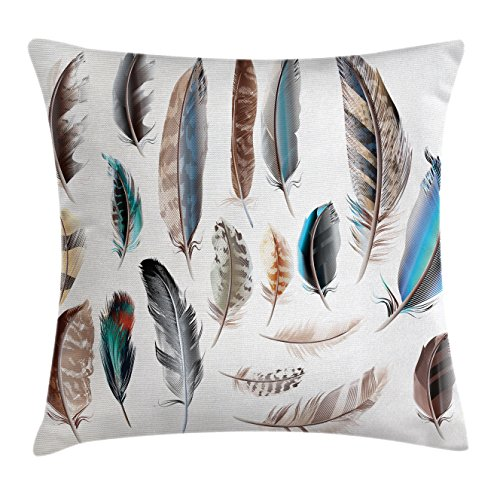 Ambesonne Feathers Throw Pillow Cushion Cover, Western Feather Setting Pigmented Bird Body Parts Growth Nature Design, Decorative Square Accent Pillow Case, 18