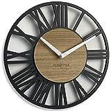 FLEXISTYLE Reloj de Pared (Material de Madera, 30 cm), Color Negro