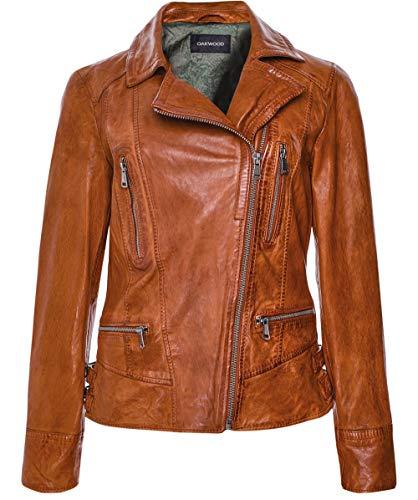 Oakwood Damen Leder-Bildschirm Bikerjacke M Cognacfarben