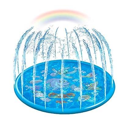 "econoLED Sprinkler Pad,Splash Play Wading Pool 68"" Sprinkle Summer Outdoor Party Water Toys Splash Play Mat Inflatable Water Toys Swimming Pool for 1-14 Years Old Toddlers Baby Kids Children?Blue?"