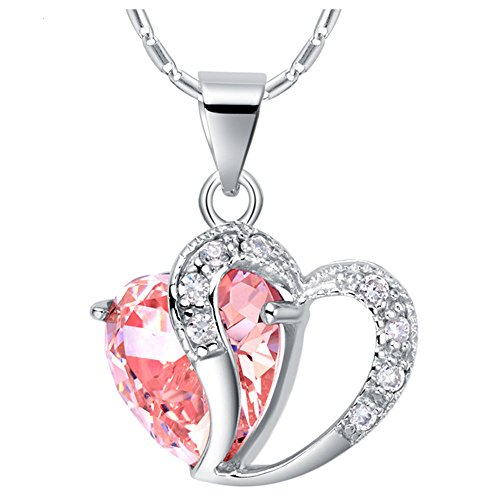 Uloveido Pink Cubic Zirconia Platinum Plated 2 Matching Heart Necklace Pendant with SIlver Color Chain for Mom Birthday Gift N673