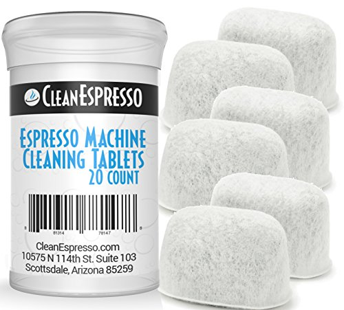 CleanEspresso Espresso Machine Cleaning Tablets and Filters For Breville Espresso Machines - 2 Gram Cleaning Tablets & Replacement Water Filter - Espresso Cleaner Accessories (20 Tablets + 6 Filters)