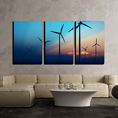 "wall26 - 3 Piece Canvas Wall Art - Wind Turbine Farm with Rays of Light at Sunset - Modern Home Decor Stretched and Framed Ready to Hang - 24""x36""x3 Panels"