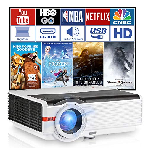 5000 Lumens LED Home Theater Projector 1080P Support with HDMI USB VGA/AV/Audio Built-in Speaker Zoom Keystone for iPhone Mac iPad XBOX PS4 Wii DVD Player Games Outdoor Movies