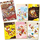 ディズニー 35周年 チョコレートクランチ ポストカード(クリアホルダー付き)5枚セット 東京ディズニーリゾート TDR  ドナルド、ヒューイ、デューイ、ルーイ、デイジー、エイプリル、メイ、ジューン、スクルージ、ガス・グース、ドレイク教授