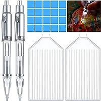 LEDダイヤモンドペインティングペン 2本 5Dダイヤモンドペインティングドリルペン DIYダイヤモンドアクセサリーツール ペイントグルークレイ20個とダイヤモンドペインティングトレイ2個付き ペイントクラフト用