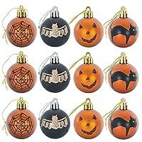 12個のハロウィーンボール飾り、ハロウィーンボール、ハロウィーンの玉ペンダント// 301 (Color : Black)