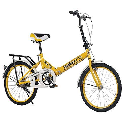 ODJOY-FAN Damenfahrrad, 20 Zoll, Mädchen Damen Citybike Fahrrad Falten Fahrrad Studentenfahrrad Mini (Gelb, 20 Zoll)