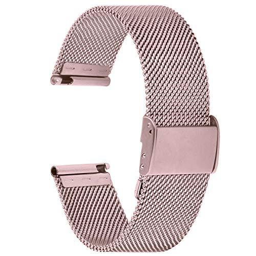 Fullmosa 【2021 Nuevo】 Correa de Reloj, Pulsera de Malla de Acero Inoxidable para Reloj (Samsung Gear s3s2 / ASUS Zenwatch/Huawei Watch/Reloj Inteligente Smartwatch etc.) Rosa, 22mm