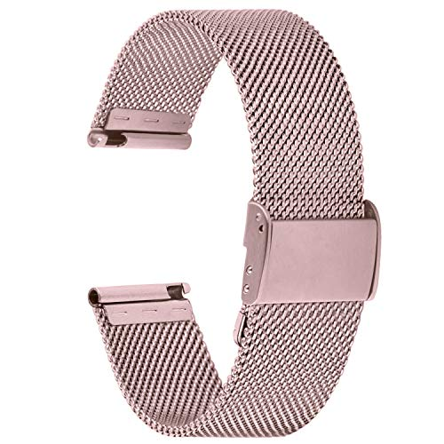 Fullmosa 【2021 Nuevo】 Correa de Reloj, Correa de Repuesto de Malla de Acero Inoxidable para Reloj (Samsung Gear s3s2 / ASUS Zenwatch/Huawei Watch/Reloj Inteligente Smartwatch etc.) Rosa, 18mm