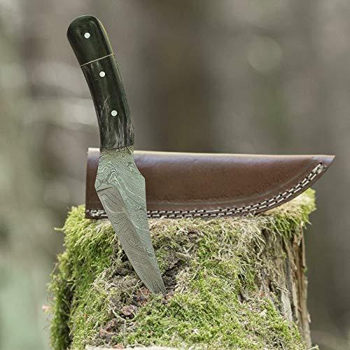 elToro Fine Brass Horn - Damast - Jagdmesser - 13cm - inkl. Lederscheide; Messer für Camping, Outdoor, Survival