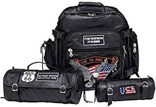 Diamond Plate 3pc Rock Design Genuine Buffalo Leather Motorcycle Bag Set