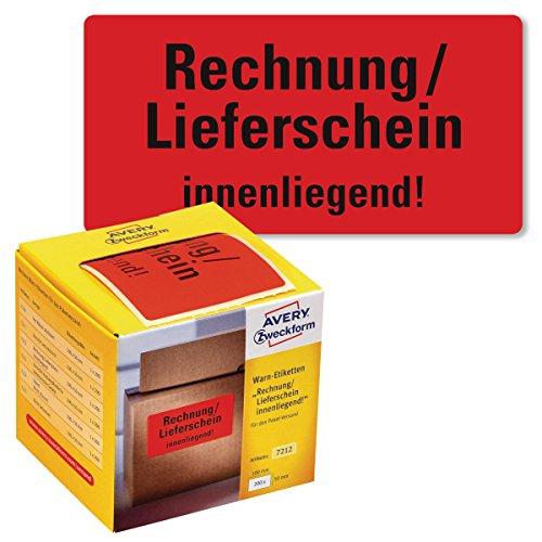 AVERY Zweckform Warnetiketten 7212 Rechnung/Lieferschein innenliegend (neon rot, 100 x 50 mm, 200 Etiketten auf Rolle) im Kartonspender