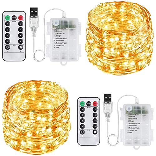 FANSIR Led Fairy String Lights, Upgraded 2 Pack USB Powered Or Battery Operated Fairy Lights 100 LED 8 Modes Waterproof Copper String Lights for Party, Garden, Bedroom Warm White (Dual Power Supply)