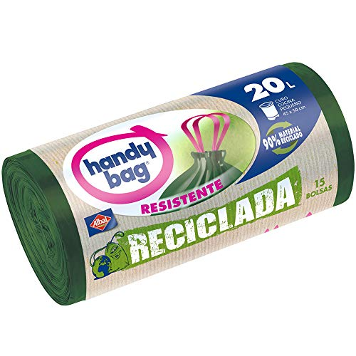 Handy Bag Bolsas de basura recicladas, 20 l, autocierre, resistentes, antigoteo, 15 unidades