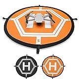 Hensych 55 cm Universel Portable Double Face Fuorescent Aire d'atterrissage Tapis pour Mavic Air 2/ Air/ Mini/Mavic Mini 2/ Mavic 2/ Mavic/Spark/Phantom 3/4 Series / FIMI etc.Petits et Moyens Drones