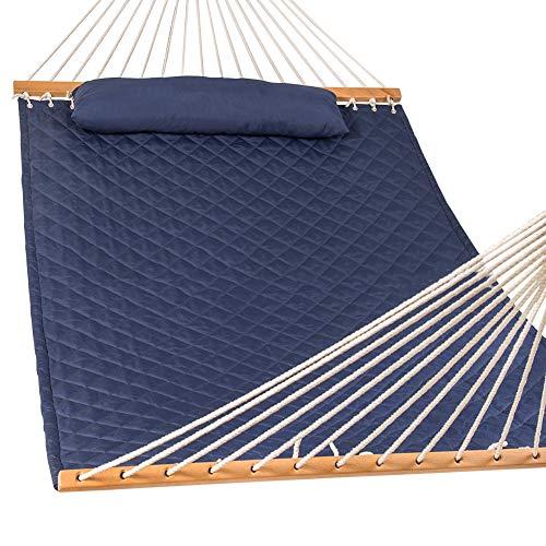 ZLRE Tragbare Hängematte mit Kissen, doppelte Hängematte Faltbare Massive Bambus Gebogene Streben Außenterrasse Strand Hängematte