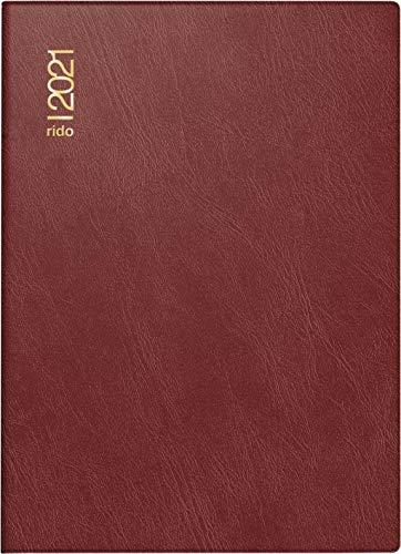 rido/idé 7018242291 Taschenkalender Technik III, 1 Seite = 2 Tage, 100 x 140 mm, Schaumfolien-Einband Catana bordeaux, Kalendarium 2021