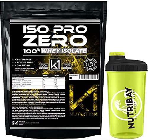ISO PRO ZERO 2 Kg Proteine 100% Whey Isolate con Vb104 - K1 Nutrition SENZA GLUTINE , SENZA LATTOSIO , LOW SUGAR , (FRAGOLA 2 KG + SHAKER)