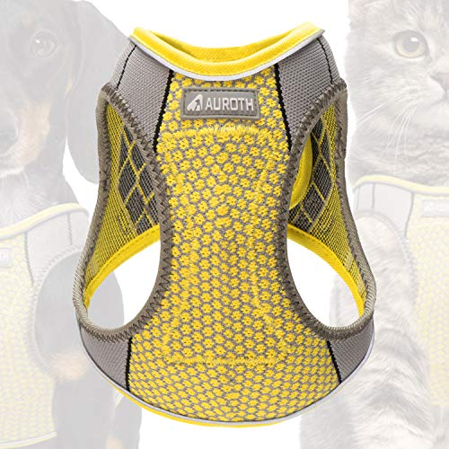 Auroth Step-in Dog Harness Cat Harness Walking Escape Proof Vest Harness for Kitten Puppy Breathable Soft Mesh Padded Dog Harness Reflective Pet Harness for Small Medium Dog Yellow (S, Chest 14-16