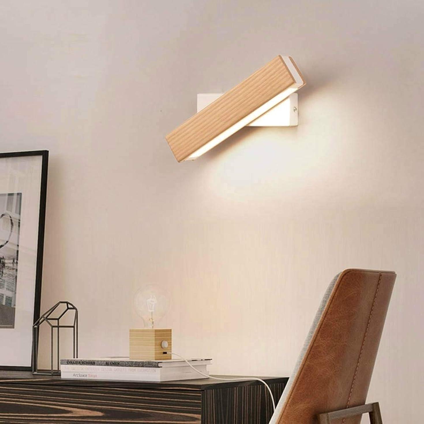 クラス夜間心理的に壁面ライト シンプルな回転ベッドサイドの寝室の壁ランプ暖かい夜の光 (色 : Wood)