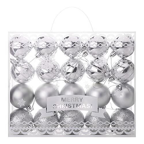 20 piezas de adornos de Navidad de plata Adornos de espejo de plata Bolas de Navidad Adornos de decoración de árboles de Navidad Bolas inastillables Adornos de bolas de Navidad para Navidad colgante