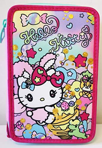 CARTOON WORLD Astuccio Scuola 3 Zip con 44 Pezzi - Hello Kitty by Seven