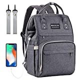Diaper Bag Backpack, Mokaloo Large Baby Bag, Multi-functional Travel Back Pack, Anti-Water Maternity Nappy Bag Changing Bags with Insulated Pockets Stroller Straps and Built-in USB Charging Port, Dark