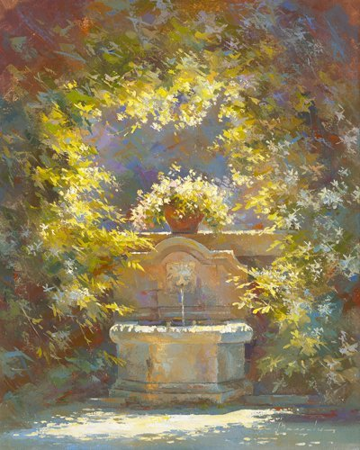 Digitaldruck / Poster Johan Messely - Fraicheur au Baux de Provence - 40 x 50cm - Premiumqualität - Nostalgie, Garten, Natur, Mediterran, Brunnen, Pflanzen, Entspannung, Ruhe.. - MADE IN GERMANY - ART-GALERIE-SHOPde