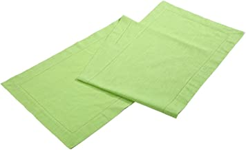 Linen Clubs Slub Cotton Table Runner in Lime Green Color with Hemstitched Detailing and Mitered Corner Finish on edges-100% Cotton Size 16x108Inch
