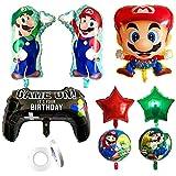 TRRY Palloncini in foglio di alluminio Super Mario cartoon, palloncini decorazione festa di compleanno decorazione festa di compleanno bambino(9pcs)
