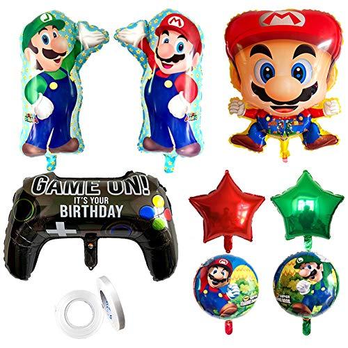 TRRY Globos de papel de aluminio de Super Mario Cartoon, globos decoración fiesta de cumpleaños, decoración fiesta de cumpleaños infantil (9 unidades)