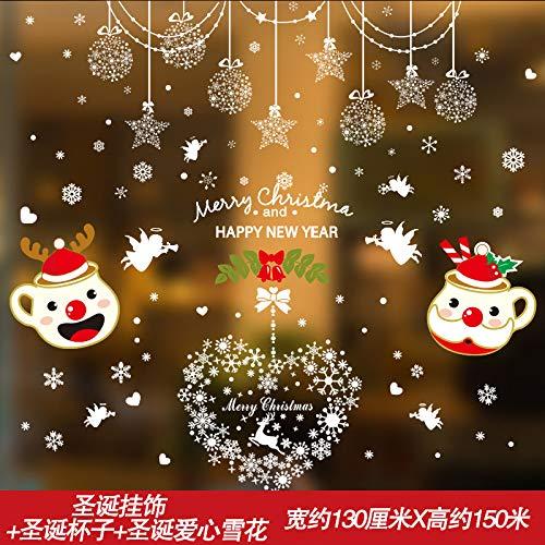 HAPPYLR Vetrofanie per porte e finestre in vetro Ornamenti Decorazioni natalizie Adesivi murali Adesivi SelfAdhesive Mall Layout di scena per il negozio, campane di Natale e ghirlande di regali di Nat
