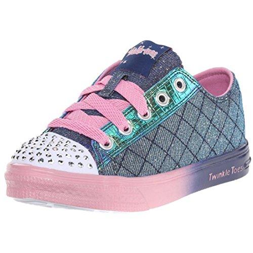 Skechers Girl's Twinkle Toes - Twinkle B Navy and Pink Sneakers