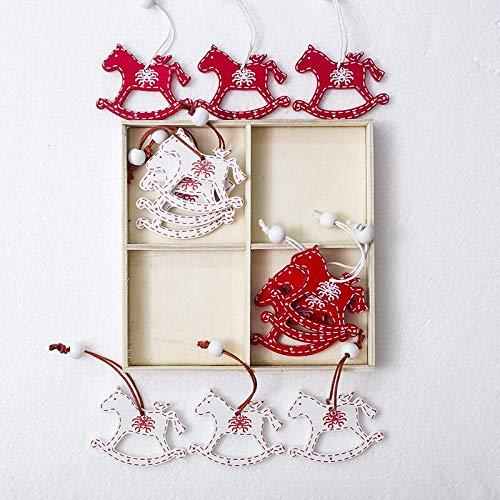 12 piezas de Navidad colgante decoración de madera caja de regalo colgante festivo renos mecedora caballo vintage (caballo de balancín)