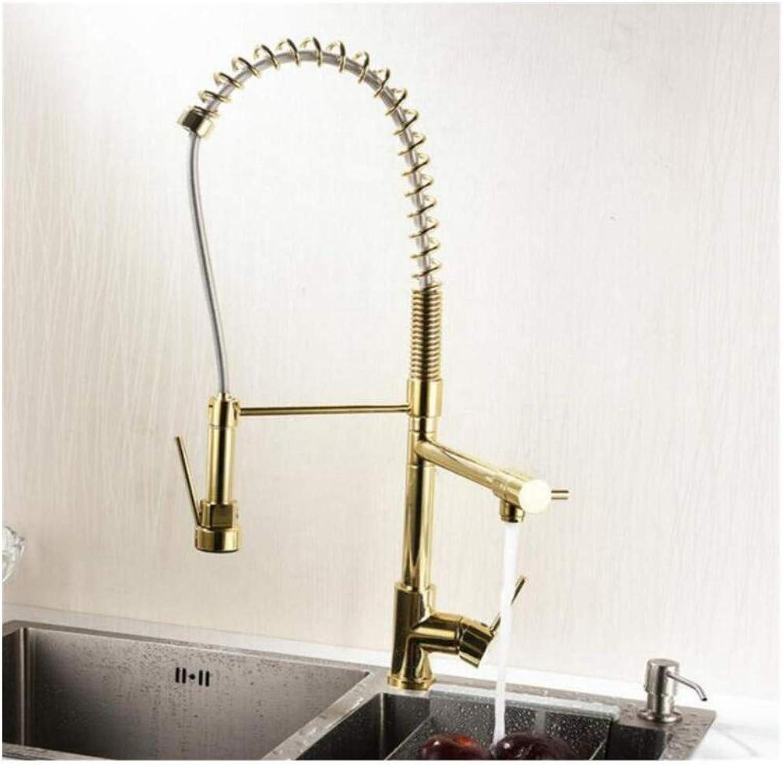 Chrome Wasserhahn Versenkbarer Wasserhahnwasserhahn Hoch Ziehen Küchenmischer Wasserhahn Doppel Auslauf Hochwertiges Material