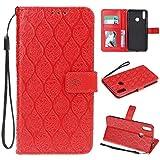 nancencen Handyhülle Kompatibel mit Huawei Honor 8C, Hülle Klapphalterungsfunktion PU Leder Flip Cover Lederhülle Schutzhülle - (Rattan Blumenmuster) Rot
