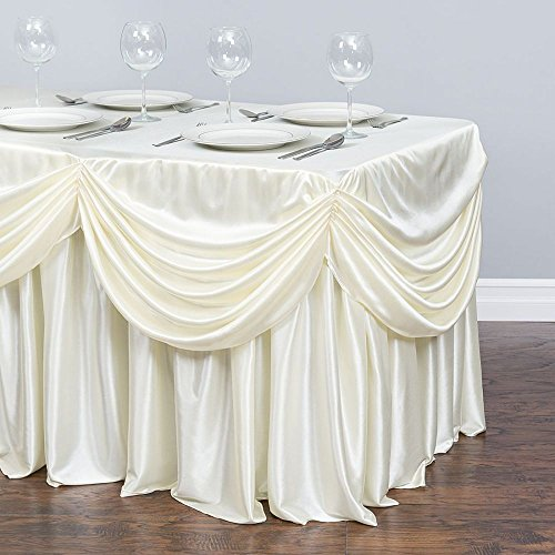 6 ft. Drape Chiffon All-in-1 Tablecloth/Pleated Skirt Ivory