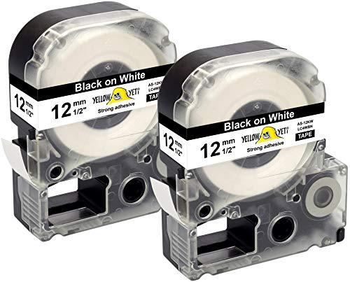 Yellow Yeti 2 Schriftbander LC-4WBN LC-4WBN9 schwarz auf weiß 12mm x 8m kompatibel für Epson LabelWorks LW-300 LW-300L LW-400 LW-500 LW-600P LW-700 LW-900P LW-1000P KingJim Tepra Pro Etikettendrucker
