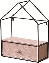 diy driehoek huis lade opbergkast, smeedijzeren massief houten wandplank, opbergkast, natuurlijk massief hout, comfortabel...
