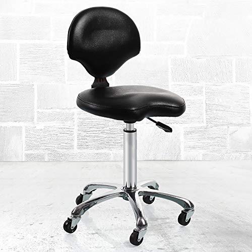 VOVOVO Tabourets de Bar, Chaise de Massage de Salon avec Dossier Réglable en Hauteur Hydraulique Pivotant pour Coiffure Manucure Thérapie de Tatouage Beauté Massage Spa Salon, 5 Roues