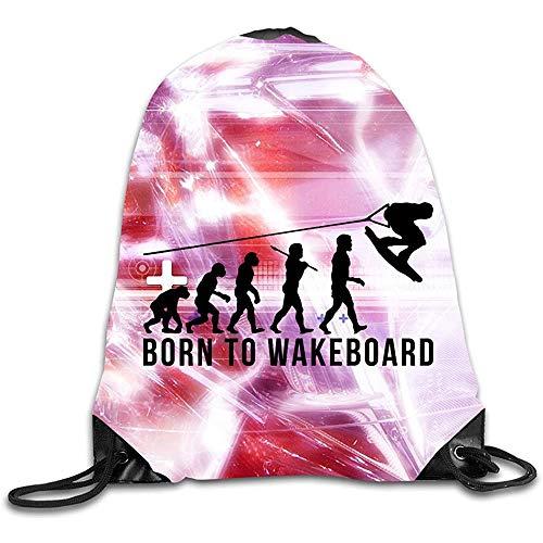 Medsforu Diseño Creativo Wakeboarding Evolution Born To Wakeboard Mochila con Cordón Mochila Deportiva para Hombres Y Mujeres