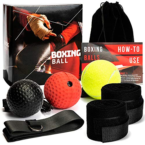 Loomiloo Reflex Ball Set mit 3 Box Bällen & Stirnband | Perfektes Reflex Training für Boxen | Steigern Sie Ihre Geschwindigkeit mit dem Speedball | MMA, Kickboxen und Boxen