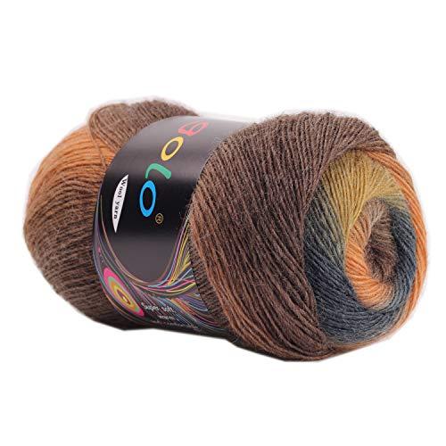 golo Wool Yarn for Knitting 550yd 0.22Ib Cachemire Multicolor Rainbow Yarn (Brown-Black)