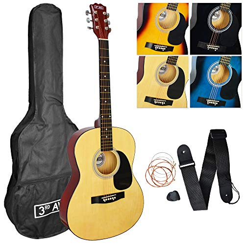 3rd Avenue Pack de guitarra acústica de tamaño estándar 4/4 con juego de cuerdas de acero para principiantes con funda de transporte con púas y cuerdas de repuesto, Natural